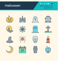 halloween icons filled outline design collection vector image