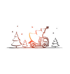 Hand drawn christmas tree in car vector