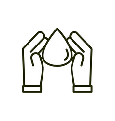 Hands water drop environment ecology line and fill vector