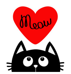 happy valentines day black cat looking up to big vector image