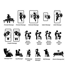 Human masseur and massage equipments artworks vector