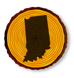 Indiana map on timber vector