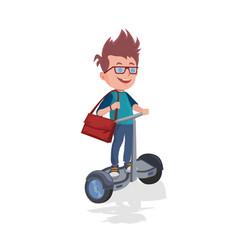 joyful caucasian schoolboy riding on electric vector image