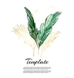 Jungle leaves hand-drawn watercolor with gold vector