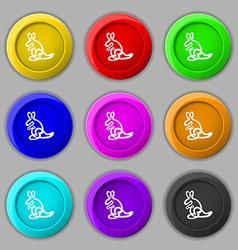 Kangaroo Icon sign symbol on nine round colourful vector image