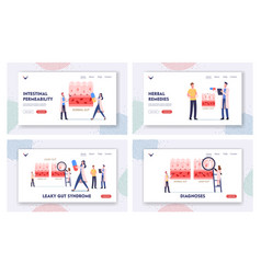 Leaky gut landing page template set tiny doctors vector