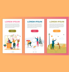 Leisure and pastime mobile web pages templates vector