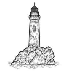 Lighthouse engraving sketch vector