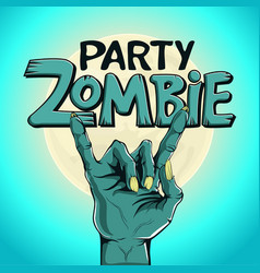 Logo zombie party zombie hand shows rock gesture vector