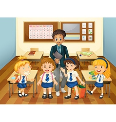 Male teacher and students in class vector