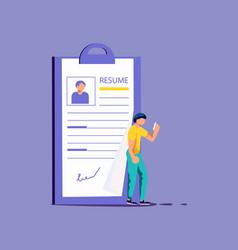 Man select a resume vector