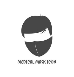 Medical mask icon simple flat style vector