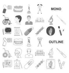 medicine and treatment monochrom icons in set vector image