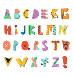 memphis alphabet colorful funny font fashion 80 vector image