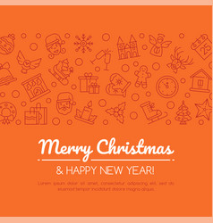 merry christmas and happy new year social media vector image