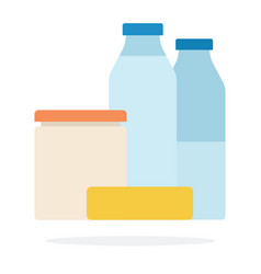 milk bottles bank sour cream and butter flat vector image