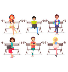 modern people with devices sit on wooden bench set vector image