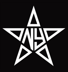 Ny logo monogram with star shape design template vector