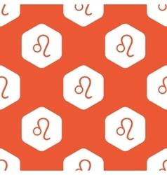 Orange hexagon Leo pattern vector