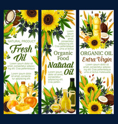 Organic vegetable and nut oils products vector