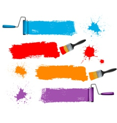 Paint brush and roller and banners vector