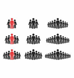 People icon set crowd of people in black and red vector