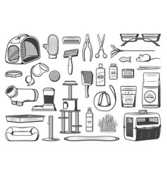 Pet care supplies for cats isolated icons vector