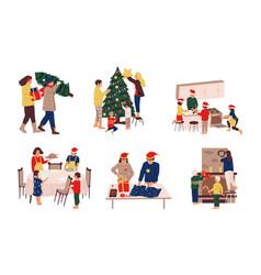 preparing christmas people celebrating winter vector image