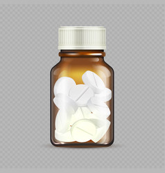 realistic drugs bottle isolated on transparent vector image