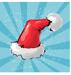 Red santa s hat with light vector