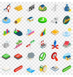 Rejected icons set isometric style vector