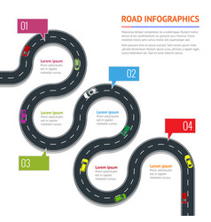 Road infographic with colorful pin pointer vector