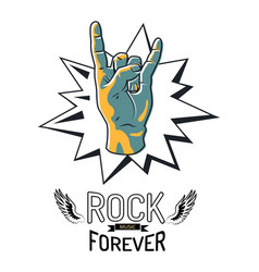 rock music forever emblem vector image