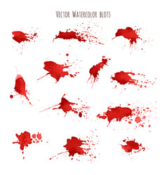 set bloody red watercolor blots splashes vector image