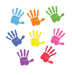 Set of colorful hand prints vector