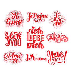 set of valentines day i love you in different vector image