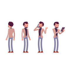 Set of young dandy in standing poses rear front vector