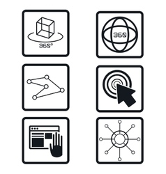 set virtual reality devices elements icons vector image