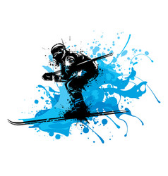silhouette of a skier whit snow vector image