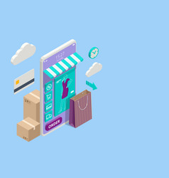 smartphone online shopping on application and vector image