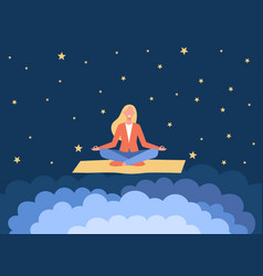 Smiling woman meditating on yoga mat vector