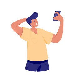 surprised man looking at smartphone vector image