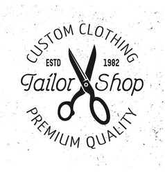 Tailor shop emblem label badge or logo vector