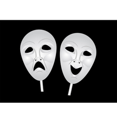 Theater masks of drama and comedy vector