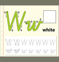 Tracing alphabet template for letter w vector