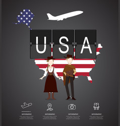 traveling to usa with map of infographic vector image