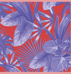 tropical blue leaves seamless pattern red vector image