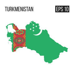 turkmenistan map border with flag eps10 vector image