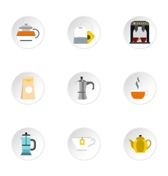 Types of drinks icons set flat style vector