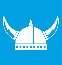 Viking helmet icon white vector